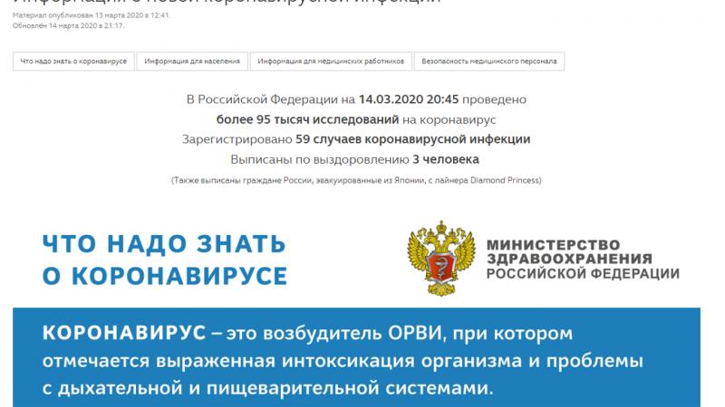 Раздел с информацией о коронавирусе создали на официальном сайте Минздрава России